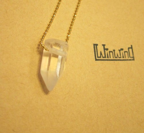 Natural Gems Fun - White Crystal Rock Crystal Quartz (Silver Chain)