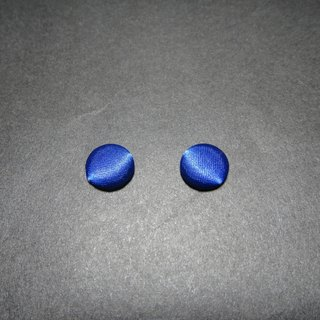 (C) _ bright sapphire blue cloth button earrings C22BT / UZ14