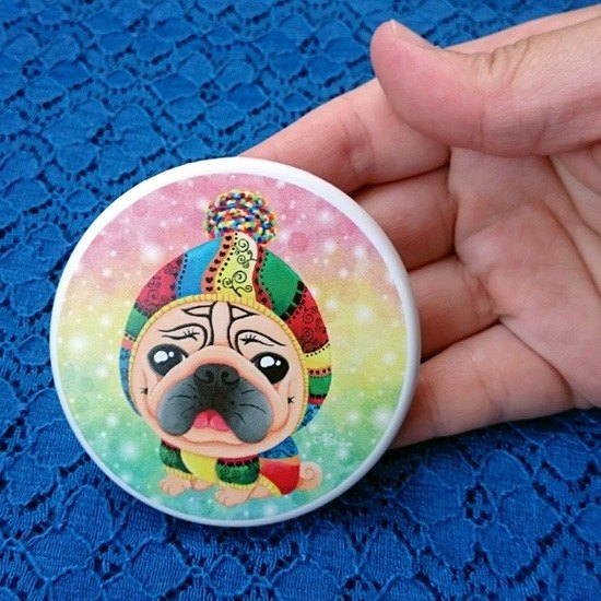 Pug Pocket Mirror-Warm me up!