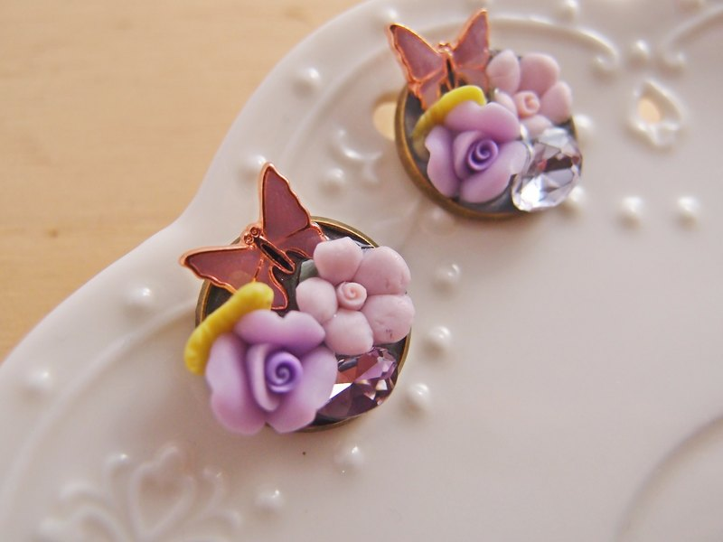 Hear the language of flowers [CR0156]] Purple Rose diamond butterfly pin stainless steel needle-ear clip-on earrings