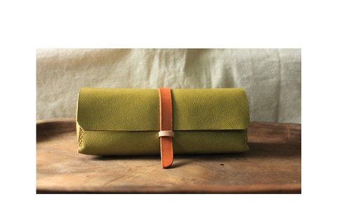 Custom made mustard green pure leather glasses case - can be engraved name