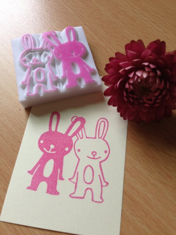 Hand-made rubber stamp - Rabbit friend