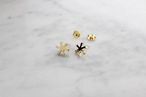 Asterisk Earring Gold , Stud Earrings.