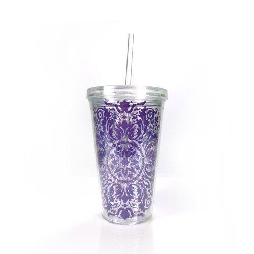 夏戀雙層沁涼環保杯 500ml【紫色花紋】