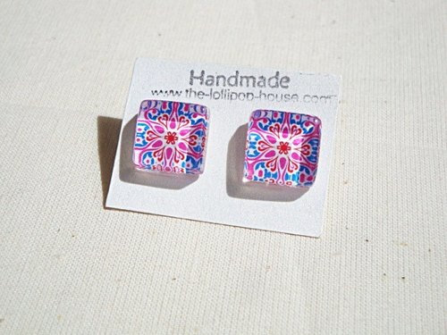 Glass Tiles Stud Earrings - Magenta Kaleidoscope