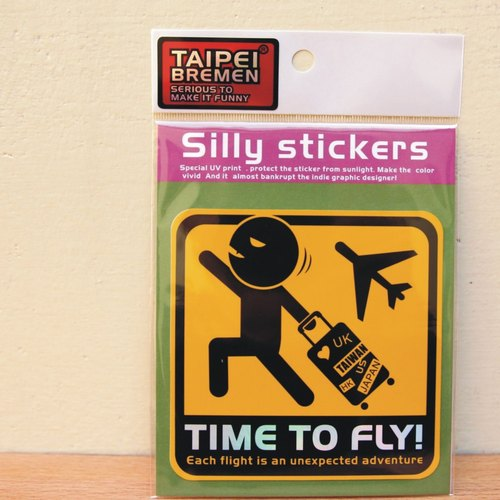 """Taipei Bremen"" Mickey eel spoof stickers (large size vehicles) - TIME TO FLY this trip! (Warning yellow)"