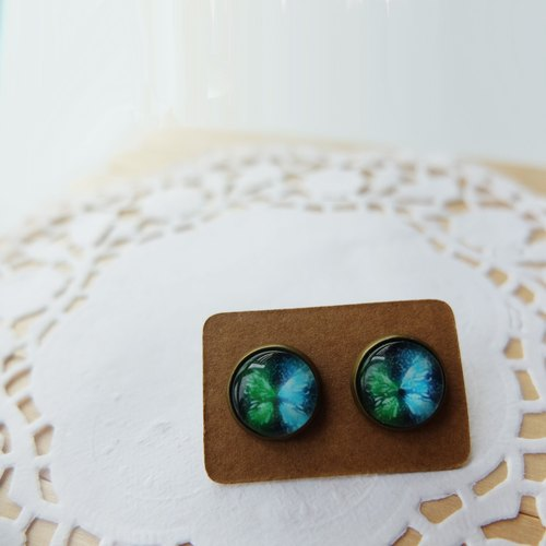 Blue-green butterfly studs