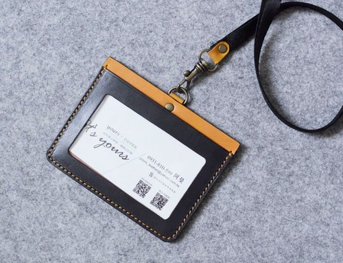 YOURS Leather US Horizontal Document Holder (with Neck Cord Ribbon) Grey Blue Leather + Egg Yolk