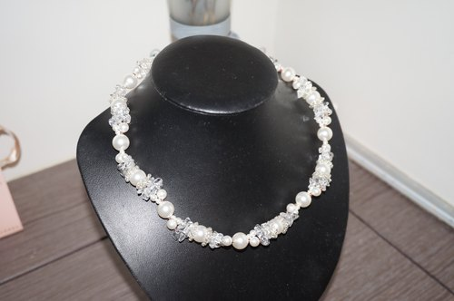 Noble hand-beaded necklace diamond necklace pearl necklace bride wedding necklace [custom] [custom-made]