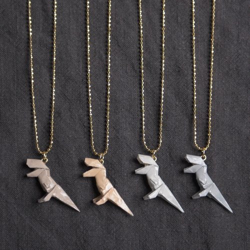 \ Mini Tyrannosaurus / origami necklace _ tea / color / light gray / pure gray