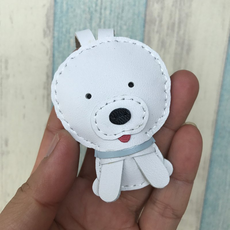 Leatherprince Handmade Leather Taiwan MIT White Cute Puppy Handmade Leather Charm Small size