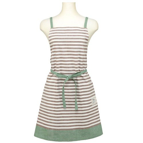 Chanson coffee horizontal stripes of green color tannins weaving aprons