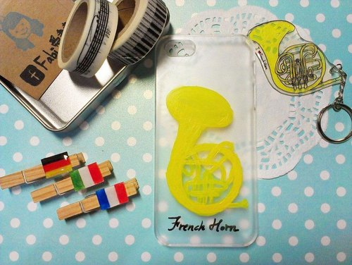Phone shell painting - French horn