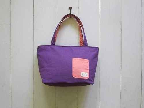 Dachshund Dog Zip Opening Canvas Tote Bag - Medium (Violet + Pink) + Small Pocket