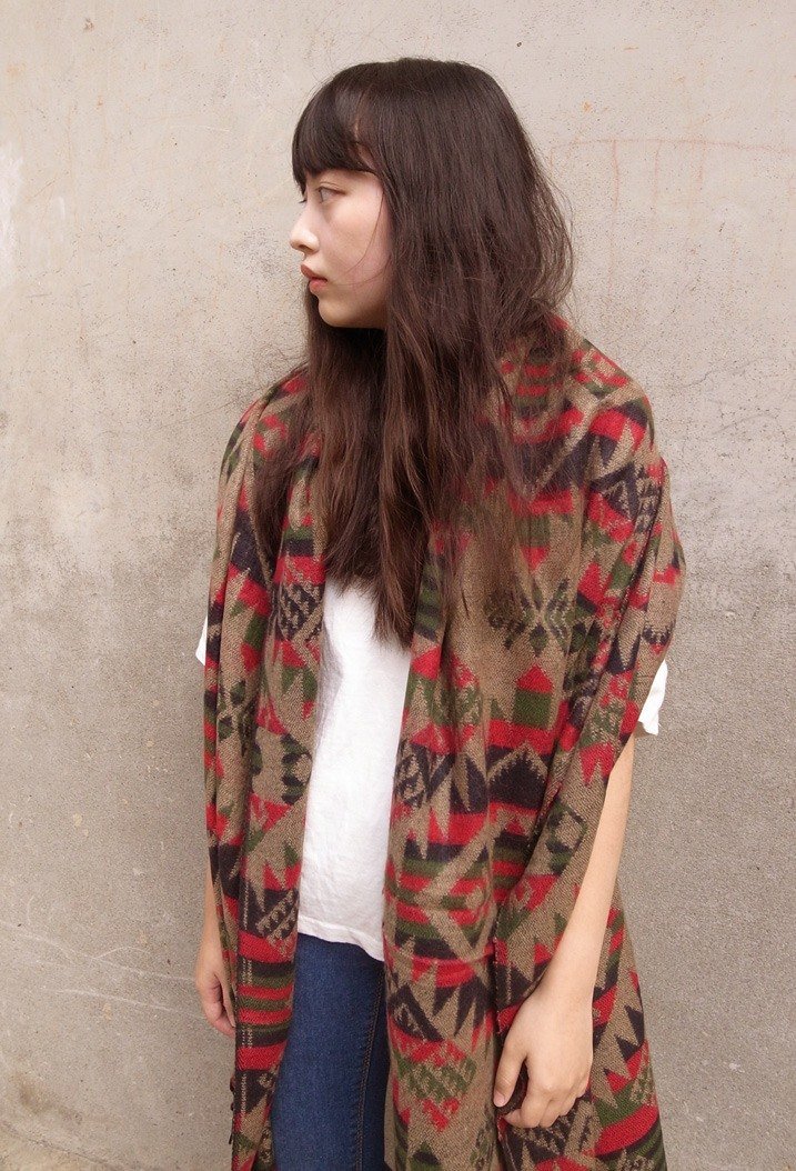[Music] tempo*The only one*Nepalese hand-woven shawl scarf scarves (several co totem - cinnamon + Green)