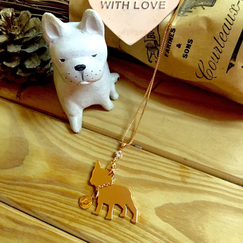 Oops French Bulldog Silhouette Short Necklace - Christmas Gifts -