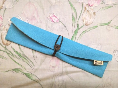 Cutlery set carry pouch chopsticks sets - curved (blue plain canvas) F05-06