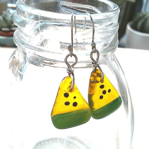 Smiling watermelon glass earrings