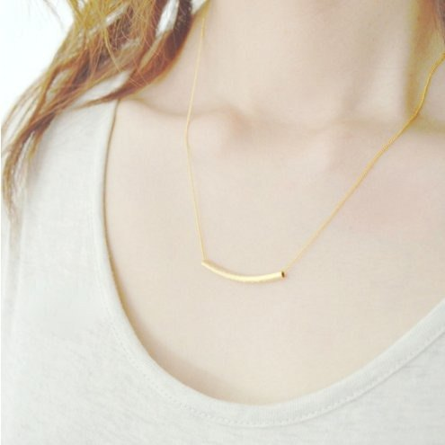Gold Curved Bar Necklace