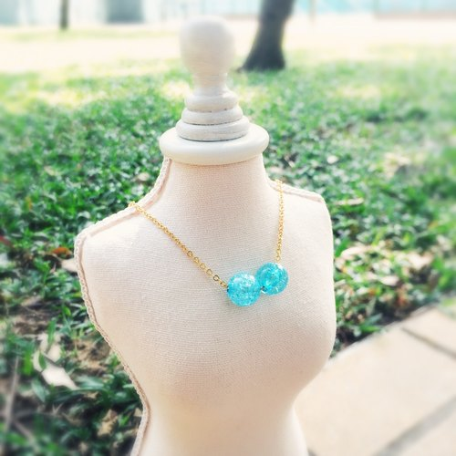 """LaPerle"" 2 粒 lake blue ice flower burst flower necklace 16k gold-plated brass bead necklace Handmade Christmas gifts"