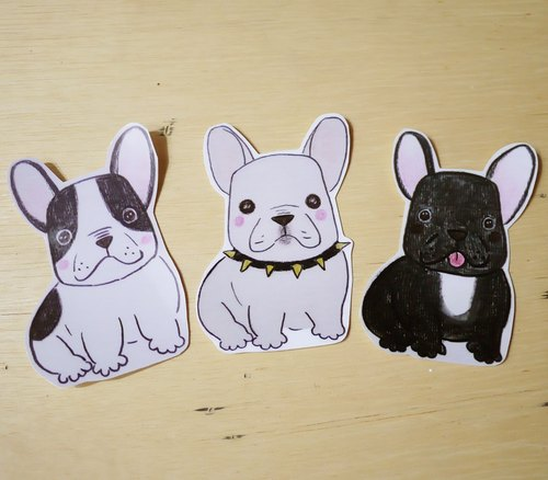 Hand painted illustrator style full waterproof stickers French Bulldogs Boston Terrier Dogs