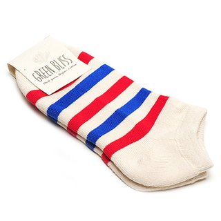 GREEN BLISS Organic Cotton Socks - [Stripe Series] Cypress White Blue Red Striped Ankle Socks / Socks Socks (M / D)