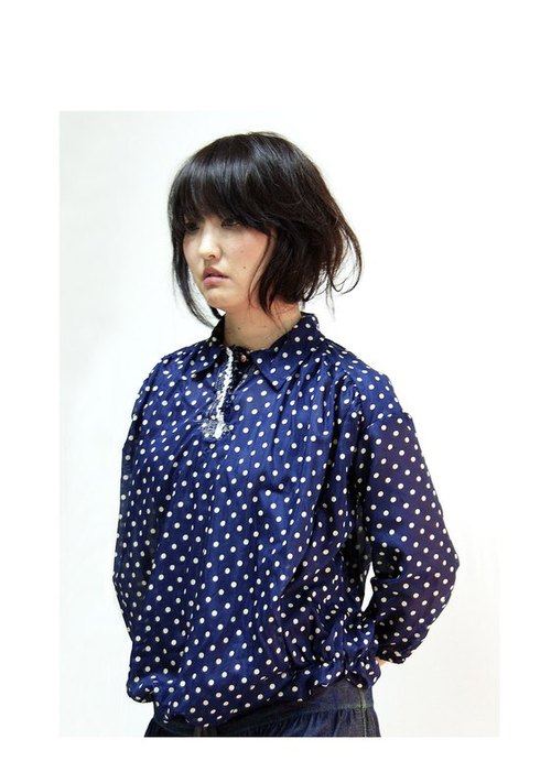 g1111 Wide silk long-sleeved T-shirt