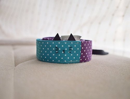 hairmo. Black cat little stitching double back strap (purple green)