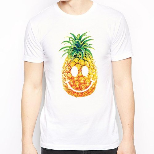 PINEAPPLE-Smile-sleeved T-shirt - white pineapple smiling face cheap fashion design own brand fashionable fruit