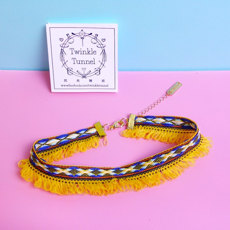 Cai weaving tassel necklace attached neck (bright yellow)