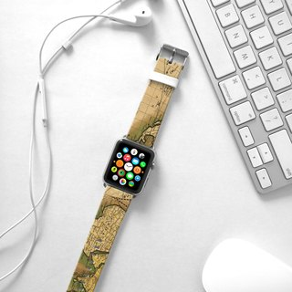 Apple Watch Series 1 , Series 2, Series 3 - Vintage Map Pattern Watch Strap Band for Apple Watch / Apple Watch Sport - 38 mm / 42 mm avilable