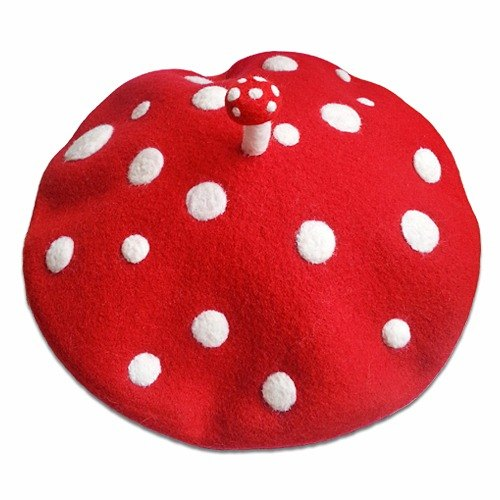 Wool felt handmade red berets I was a little mushroom
