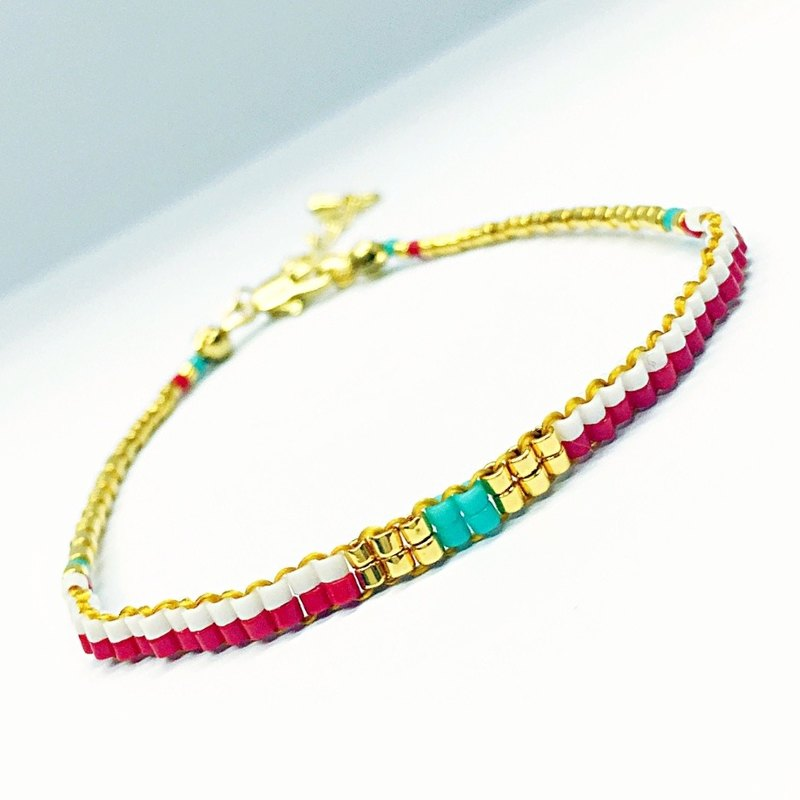 ololssim red and white lines ethnic bracelet (0731)