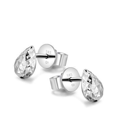 Hong Kong Design 14K / 585 white gold net gold diamond earrings