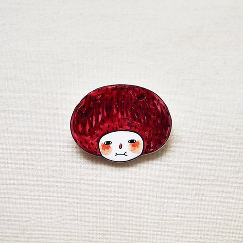 Minifanfan The Red Bob Girl - Handmade Shrink Plastic Brooch or Magnet - Wearable Art - Made to Order