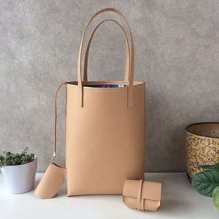 Zemoneni leather tote bag in Beige color with coin bag & key chain 3 in 1