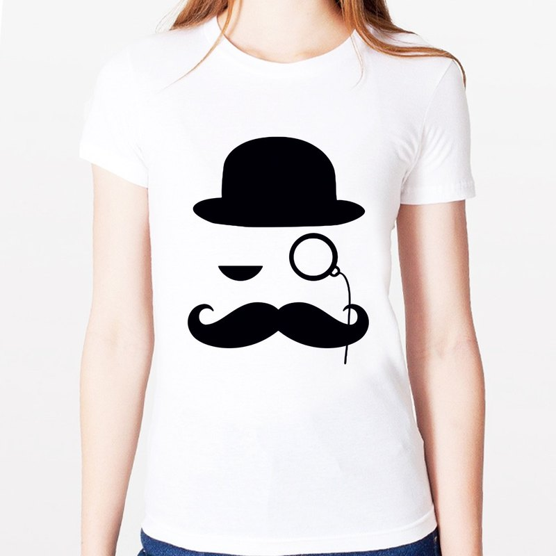 LIKE A SIR girls T-shirt -2 color retro glasses beard bearded gentleman Duke Wen Qing art design fashionable