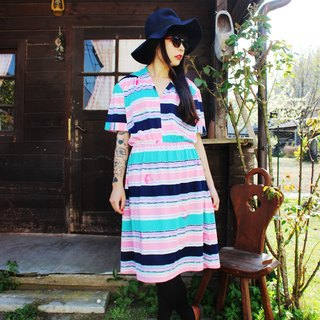 F908 (Vintage) pink vintage green striped short-sleeved dress