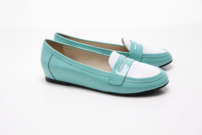 [Saint Landry] LAND patent leather stitching design flats (TIFFINY blue)
