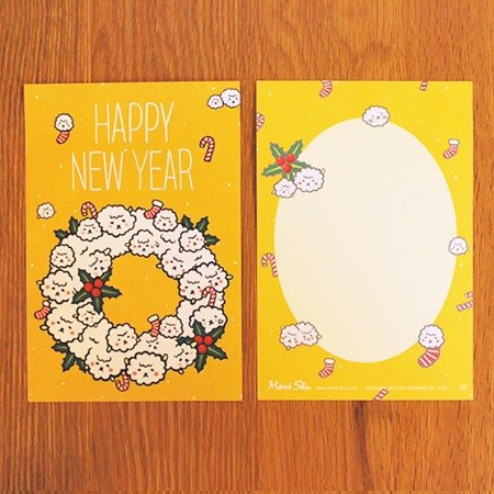 * Mori Shu * Christmas and New Year card - Christmas wreath sheep bubble (with envelopes)