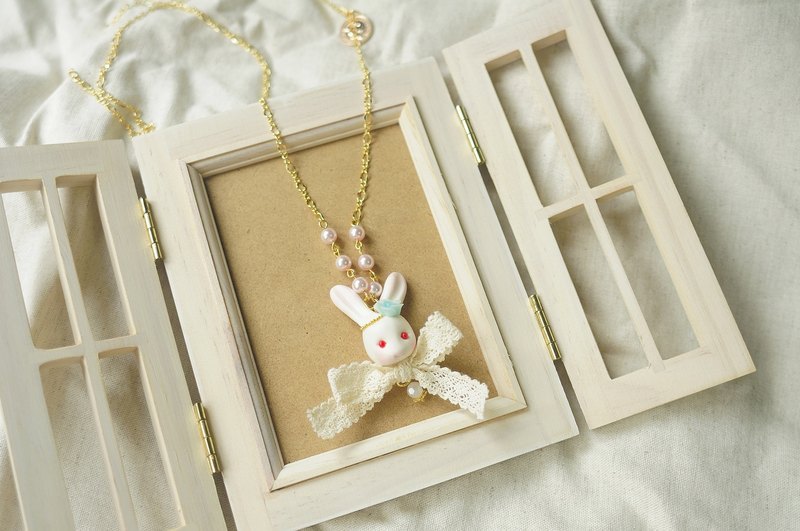 ☆ Sweet Dream ☆ ☆ elegant forest department rose marshmallow bunny necklace