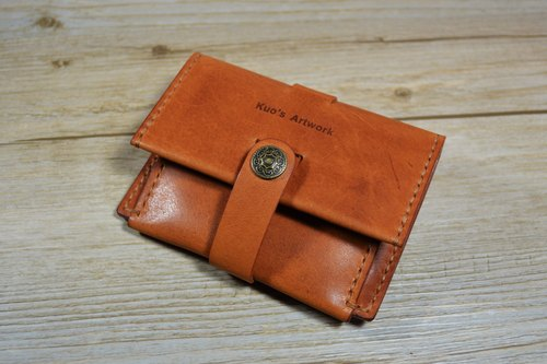 【kuo's artwork】 Hand stitched leather credit card wallet