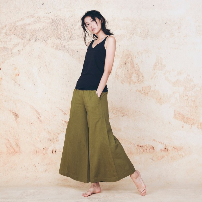 Handmade cotton wide pants - Olive Green