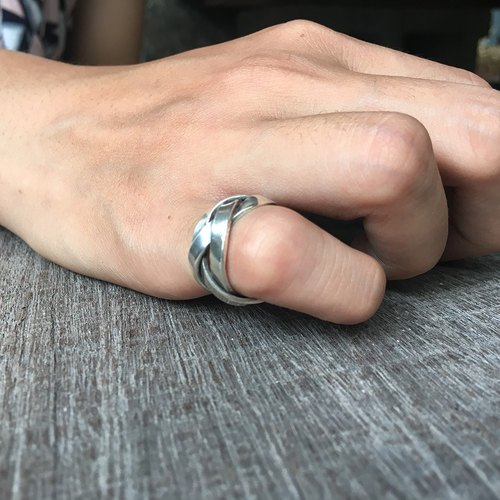 """Weave"" handmade sterling silver customized ring / ring tail, original hand-made poetry design, elegant knitted modeling fashion, Valentine's Day / birthday / Christmas gift."