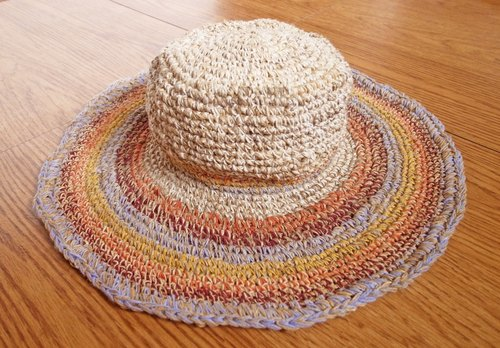 【Grooving the beats】Handmade Hand-woven Hemp and Cotton Hat with adjustable edges, Wide brimmed hat, Summer hat,  Sun hat women, Large brim sun hat, Summer cloche hats, Crochet Hat, Holiday Hat, Beach Hat, Hemp Hat, Straw Hat(Multi-color_3 lines)