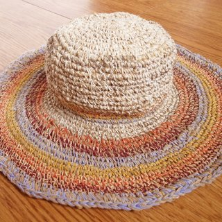 Handmade Hand-woven Hemp and Cotton Hat with adjustable edges, Wide brimmed hat