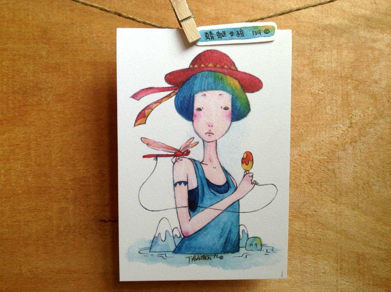 {139}dragonfly girl,illustration postcard