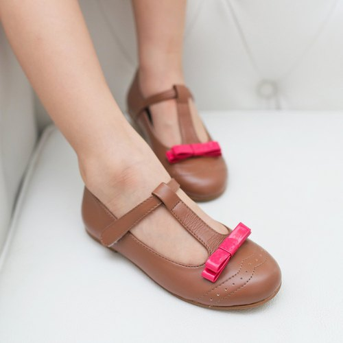 Mary Jane Bow Carved Doll Shoes - Caramel Coffee
