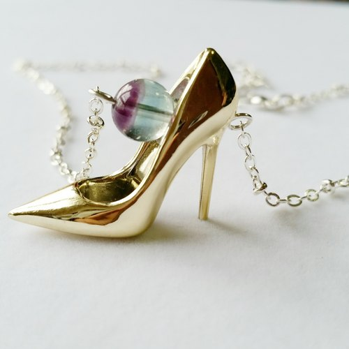 Purplish blue fluorite, gold high heels silver-plated necklace collarbone