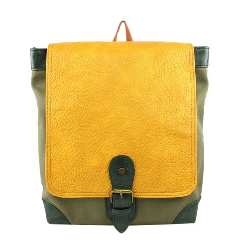 AMINAH- classic yellow and green backpacks [am-0280]